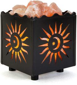 Crystal Décor Pink Himalayan Salt Lamp in Sun Design